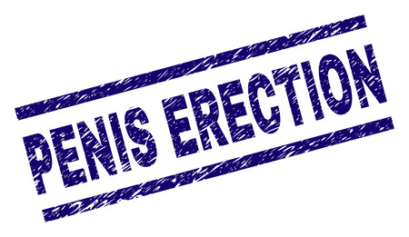 PENIS ERECTION seal print with grunge style. Blue vector rubber print of PENIS ERECTION tag with grunge texture. Text caption is placed between parallel lines. Vettoriali