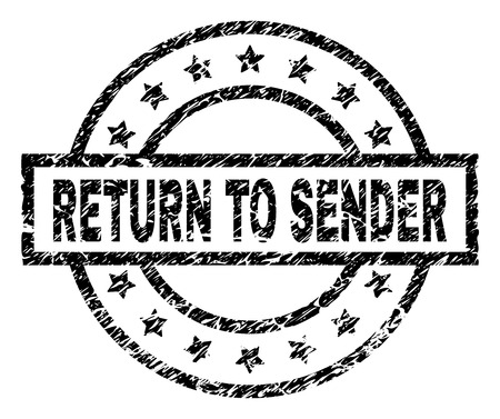 RETURN TO SENDER stamp seal watermark with distress style. Designed with rectangle, circles and stars. Black vector rubber print of RETURN TO SENDER label with unclean texture.