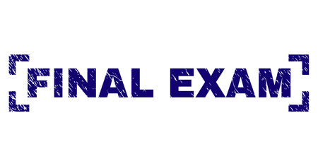 FINAL EXAM tag seal imprint with corroded texture. Text tag is placed inside corners. Blue vector rubber print of FINAL EXAM with dust texture. Illustration