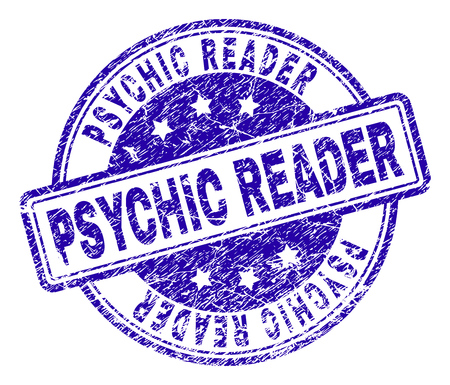 PSYCHIC READER stamp seal imprint with grunge texture. Designed with rounded rectangles and circles. Blue vector rubber print of PSYCHIC READER label with grunge texture.