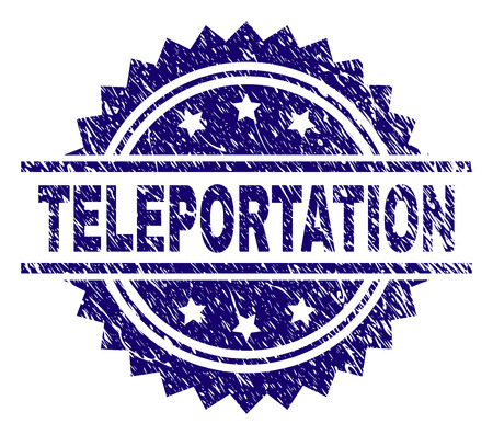 TELEPORTATION stamp seal watermark with distress style. Blue vector rubber print of TELEPORTATION text with scratched texture. Illustration
