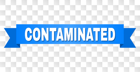 CONTAMINATED text on a ribbon. Designed with white caption and blue stripe. Vector banner with CONTAMINATED tag on a transparent background. Illustration
