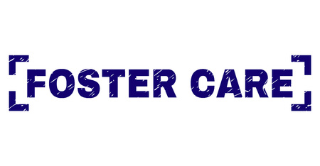 FOSTER CARE tag seal watermark with grunge texture. Text title is placed between corners. Blue vector rubber print of FOSTER CARE with grunge texture.