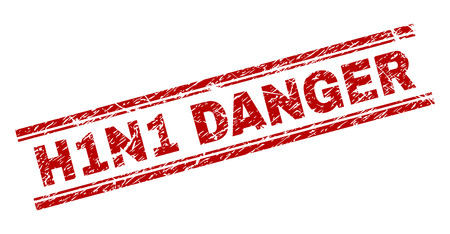 H1N1 DANGER seal print with grunge texture. Red vector rubber print of H1N1 DANGER text with corroded texture. Text label is placed between double parallel lines.