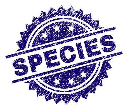 SPECIES stamp seal watermark with distress style. Blue vector rubber print of SPECIES tag with corroded texture. Ilustração