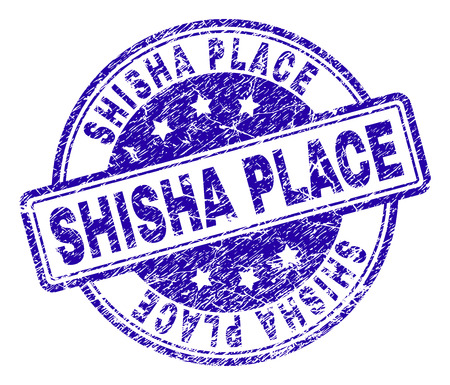 SHISHA PLACE stamp seal watermark with distress texture. Designed with rounded rectangles and circles. Blue vector rubber print of SHISHA PLACE title with dust texture. Banque d'images - 125967470
