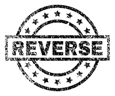 REVERSE stamp seal watermark with distress style. Designed with rectangle, circles and stars. Black vector rubber print of REVERSE caption with scratched texture.