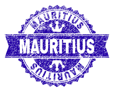 MAURITIUS rosette stamp seal imitation with grunge style. Designed with round rosette, ribbon and small crowns. Blue vector rubber print of MAURITIUS tag with grunge style.