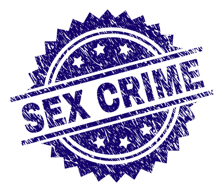 SEX CRIME stamp seal watermark with distress style. Blue vector rubber print of SEX CRIME caption with scratched texture.