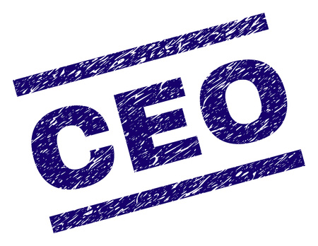 CEO seal print with grunge style. Blue vector rubber print of CEO title with grunge texture. Text title is placed between parallel lines.
