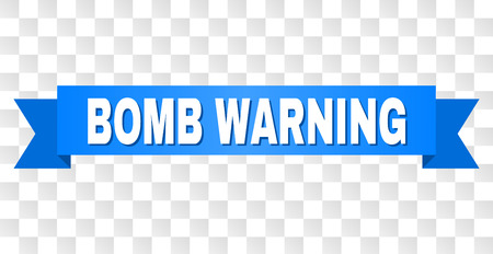 BOMB WARNING text on a ribbon. Designed with white caption and blue tape. Vector banner with BOMB WARNING tag on a transparent background.