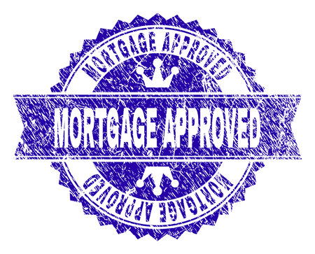 MORTGAGE APPROVED rosette stamp imitation with grunge texture. Designed with round rosette, ribbon and small crowns. Blue vector rubber print of MORTGAGE APPROVED label with grunge texture. Illustration