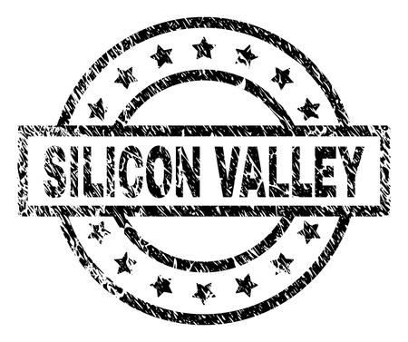 SILICON VALLEY stamp seal watermark with distress style. Designed with rectangle, circles and stars. Black vector rubber print of SILICON VALLEY caption with corroded texture.