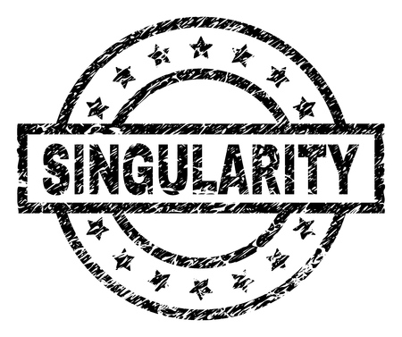 SINGULARITY stamp seal watermark with distress style. Designed with rectangle, circles and stars. Black vector rubber print of SINGULARITY tag with dirty texture.