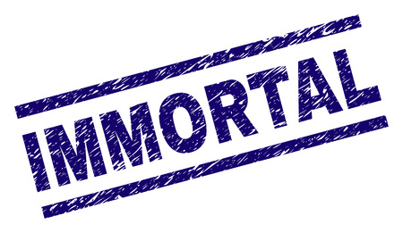IMMORTAL seal print with scratced style. Blue vector rubber print of IMMORTAL text with dirty texture. Text tag is placed between parallel lines.