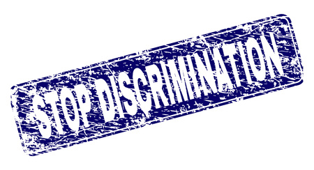 STOP DISCRIMINATION stamp seal print with grunge texture. Seal shape is a rounded rectangle with frame. Blue vector rubber print of STOP DISCRIMINATION label with grunge texture.