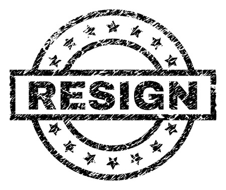 RESIGN stamp seal watermark with distress style. Designed with rectangle, circles and stars. Black vector rubber print of RESIGN text with grunge texture.
