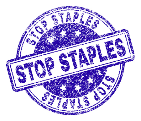 STOP STAPLES stamp seal watermark with distress texture. Designed with rounded rectangles and circles. Blue vector rubber print of STOP STAPLES text with dust texture.
