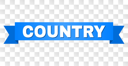 COUNTRY text on a ribbon. Designed with white title and blue stripe. Vector banner with COUNTRY tag on a transparent background.