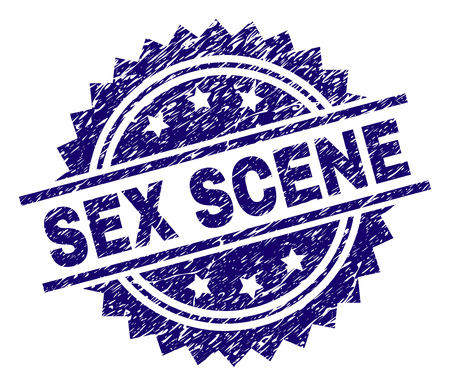 SEX SCENE stamp seal watermark with distress style. Blue vector rubber print of SEX SCENE caption with dirty texture. 向量圖像
