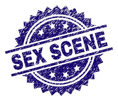 SEX SCENE Stempelsiegel-Wasserzeichen im Distress-Stil. Blauer Vektorgummidruck der SEX-SZENE-Beschriftung mit schmutziger Textur.