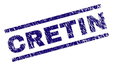 CRETIN seal print with scratced style. Blue vector rubber print of CRETIN text with scratched texture. Text tag is placed between parallel lines.