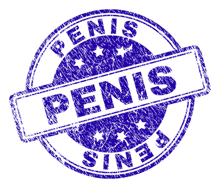 PENIS stamp seal imprint with grunge texture. Designed with rounded rectangles and circles. Blue vector rubber print of PENIS caption with grunge texture. Illustration