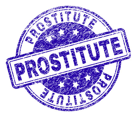 PROSTITUTE stamp seal watermark with grunge effect. Designed with rounded rectangles and circles. Blue vector rubber print of PROSTITUTE caption with grunge texture.