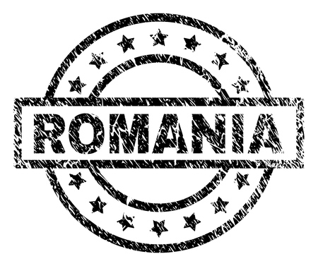 ROMANIA stamp seal watermark with distress style. Designed with rectangle, circles and stars. Black vector rubber print of ROMANIA label with dust texture.