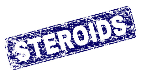 STEROIDS stamp seal print with distress style. Seal shape is a rounded rectangle with frame. Blue vector rubber print of STEROIDS title with grunge style.