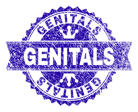 GENITALS rosette stamp seal imprint with grunge texture. Designed with round rosette, ribbon and small crowns. Blue vector rubber print of GENITALS text with grunge texture.