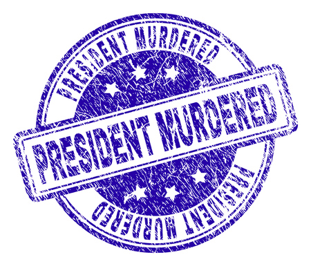 PRESIDENT MURDERED stamp seal watermark with distress texture. Designed with rounded rectangles and circles. Blue vector rubber print of PRESIDENT MURDERED tag with scratched texture.