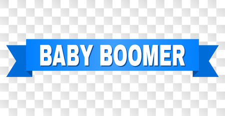 BABY BOOMER text on a ribbon. Designed with white caption and blue stripe. Vector banner with BABY BOOMER tag on a transparent background.