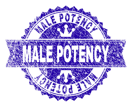 MALE POTENCY rosette stamp watermark with distress texture. Designed with round rosette, ribbon and small crowns. Blue vector rubber watermark of MALE POTENCY caption with retro texture. Vettoriali