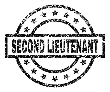 SECOND LIEUTENANT stamp seal watermark with distress style. Designed with rectangle, circles and stars. Black vector rubber print of SECOND LIEUTENANT label with grunge texture. 向量圖像