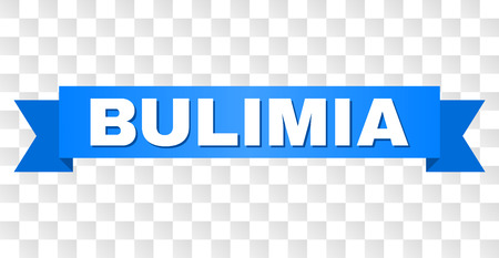 BULIMIA text on a ribbon. Designed with white title and blue tape. Vector banner with BULIMIA tag on a transparent background. Illustration