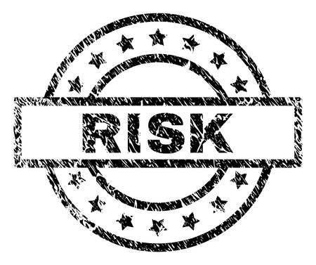 RISK stamp seal watermark with distress style. Designed with rectangle, circles and stars. Black vector rubber print of RISK label with unclean texture.