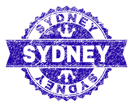 SYDNEY rosette stamp watermark with grunge style. Designed with round rosette, ribbon and small crowns. Blue vector rubber watermark of SYDNEY tag with corroded texture.