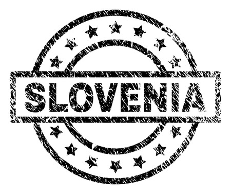 SLOVENIA stamp seal watermark with distress style. Designed with rectangle, circles and stars. Black vector rubber print of SLOVENIA caption with unclean texture.