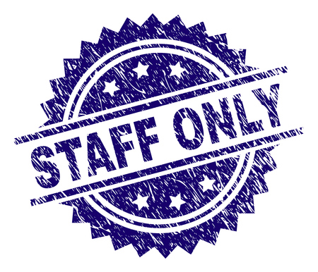 STAFF ONLY stamp seal watermark with distress style. Blue vector rubber print of STAFF ONLY caption with scratched texture.