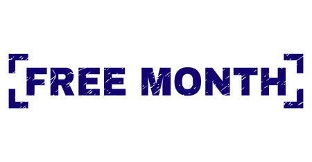 FREE MONTH title seal imprint with corroded texture. Text title is placed inside corners. Blue vector rubber print of FREE MONTH with corroded texture. Banque d'images - 125941637