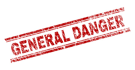 GENERAL DANGER seal print with distress texture. Red vector rubber print of GENERAL DANGER text with corroded texture. Text caption is placed between double parallel lines.