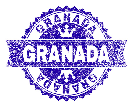 GRANADA rosette stamp overlay with distress texture. Designed with round rosette, ribbon and small crowns. Blue vector rubber watermark of GRANADA label with grunge texture. Иллюстрация
