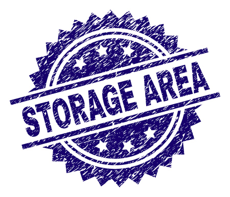 STORAGE AREA stamp seal watermark with distress style. Blue vector rubber print of STORAGE AREA label with dirty texture.