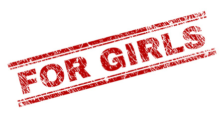 FOR GIRLS seal imprint with corroded texture. Red vector rubber print of FOR GIRLS title with corroded texture. Text tag is placed between double parallel lines.