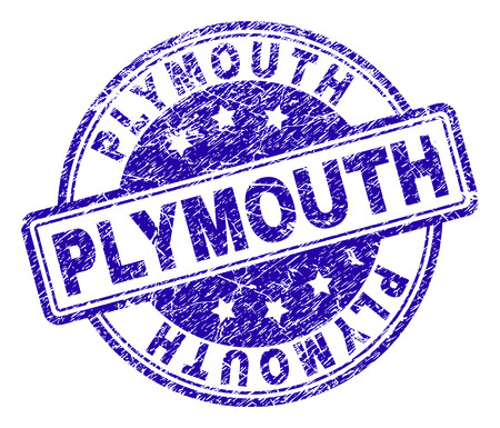 PLYMOUTH stamp seal imprint with grunge texture. Designed with rounded rectangles and circles. Blue vector rubber print of PLYMOUTH caption with grunge texture.
