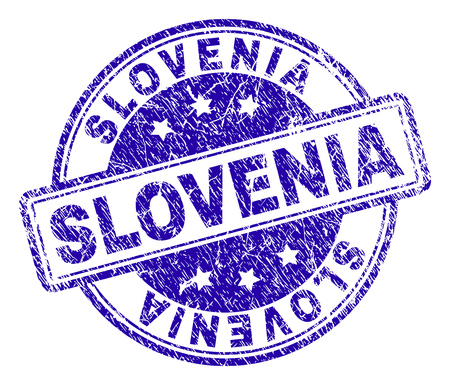 SLOVENIA stamp seal imprint with grunge texture. Designed with rounded rectangles and circles. Blue vector rubber print of SLOVENIA label with grunge texture.