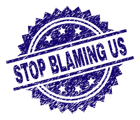 STOP BLAMING US stamp seal watermark with distress style. Blue vector rubber print of STOP BLAMING US caption with scratched texture. Illustration
