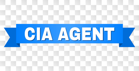 CIA AGENT text on a ribbon. Designed with white caption and blue stripe. Vector banner with CIA AGENT tag on a transparent background.