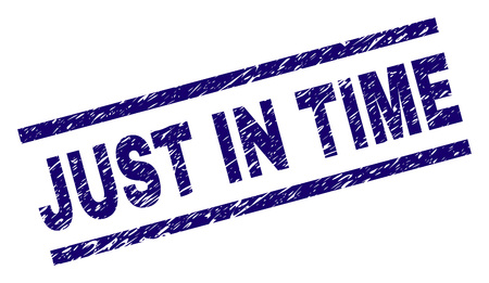 JUST IN TIME seal print with grunge style. Blue vector rubber print of JUST IN TIME label with retro texture. Text label is placed between parallel lines.